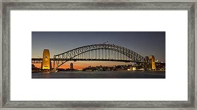 Sunset Over Sydney Harbour Bridge Framed Print by Kevin Hellon