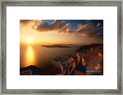 Sunset Over The Aegean Sea Framed Print by Aiolos Greek Collections