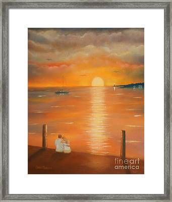 Framed Print featuring the painting Sunset Over The Bay by Chris Fraser