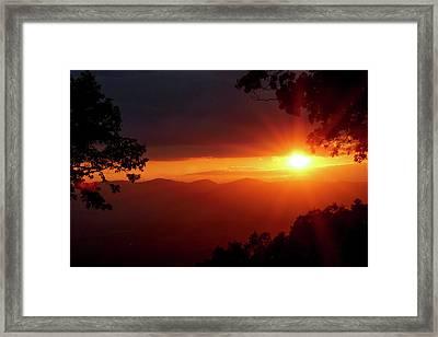 Sunset Over The Blue Ridge Mountains Framed Print
