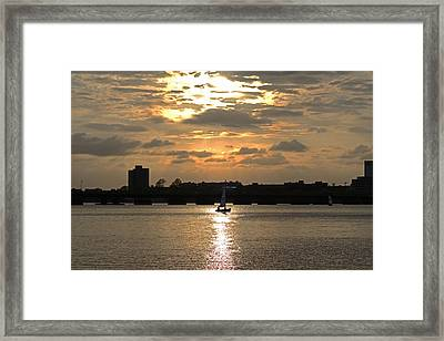 Sunset Over The Charles River Framed Print by Toby McGuire