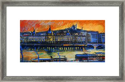 Sunset Over The City - Lyon France Framed Print