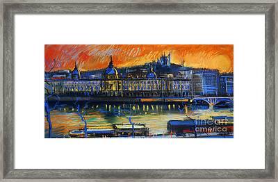 Sunset Over The City - Lyon France Framed Print by Mona Edulesco