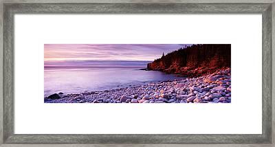 Sunset Over The Coast, Acadia National Framed Print