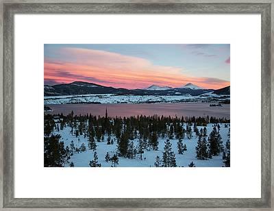 Sunset Over The Dillon Reservoir Framed Print by Jim West