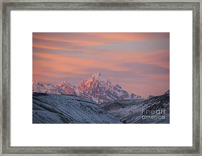 Sunset Over The Grand Tetons Framed Print by Juli Scalzi