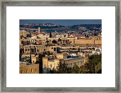 Framed Print featuring the photograph Sunset Over The Holy City by Uri Baruch