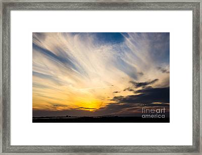 Sunset Over The Jfk Causeway Framed Print