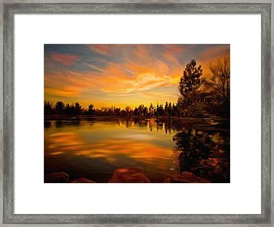 Sunset Over The Lake Framed Print