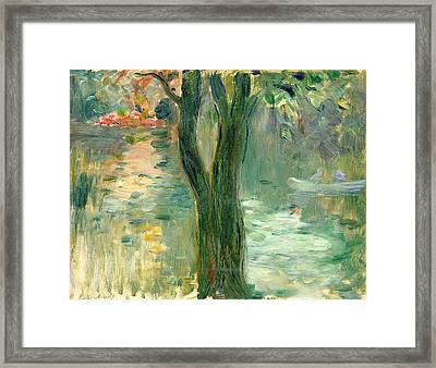 Sunset Over The Lake Bois De Boulogne Framed Print