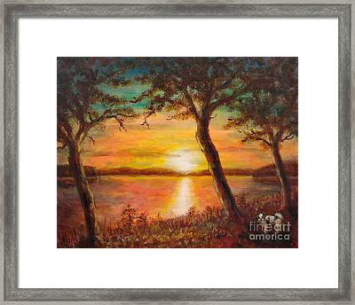 Sunset Over The Lake Framed Print by Martin Capek