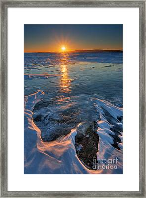 Sunset Over The Lake Of Two Mountains Framed Print by Robert Servranckx