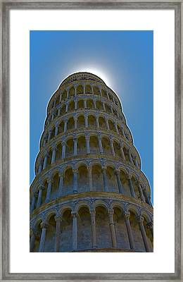 Sunset Over The Leaning Tower Framed Print by Rita Mueller