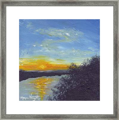 Sunset Over The Mississippi Framed Print