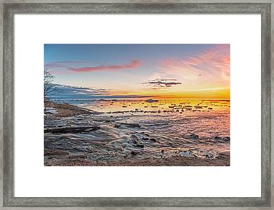 Sunset Over The Mouth Of The Hurricane River Framed Print