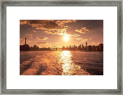 Sunset Over The New York City Skyline Framed Print by Vivienne Gucwa