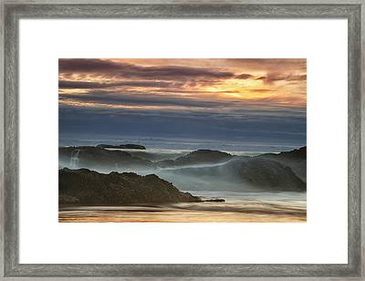 Sunset Over The Ocean Waves Framed Print