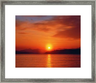 Sunset Over The Olympic Mountains Framed Print