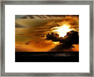 Sunset Over The Pacific I Framed Print by Helen Carson