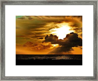Sunset Over The Pacific II Framed Print by Helen Carson