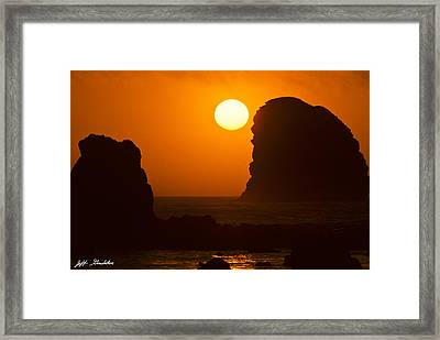 Framed Print featuring the photograph Sunset Over The Pacific Ocean With Rock Stacks by Jeff Goulden