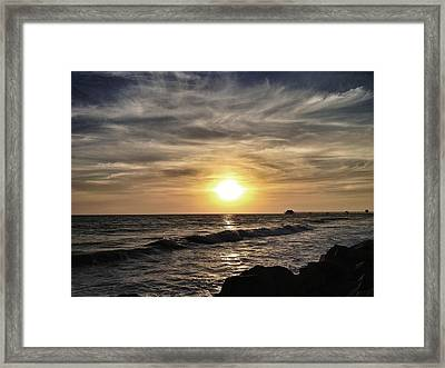 Sunset Over The Pier Framed Print