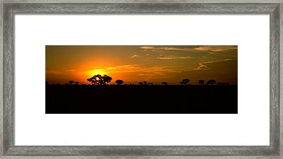 Sunset Over The Savannah Plains, Kruger Framed Print
