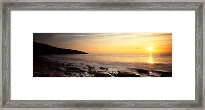 Sunset Over The Sea, Celtic Sea, Wales Framed Print by Panoramic Images