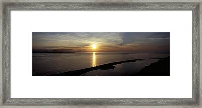 Sunset Over The Sea, Ebeys Landing Framed Print by Panoramic Images