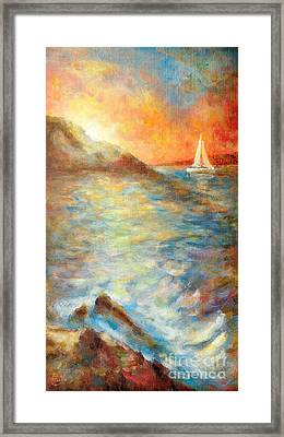 Sunset Over The Sea. Framed Print by Martin Capek