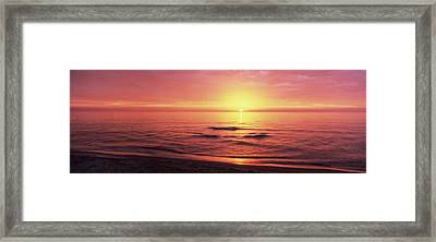 Sunset Over The Sea, Venice Beach Framed Print