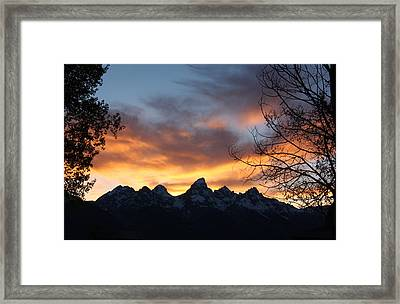 Sunset Over The Tetons Framed Print