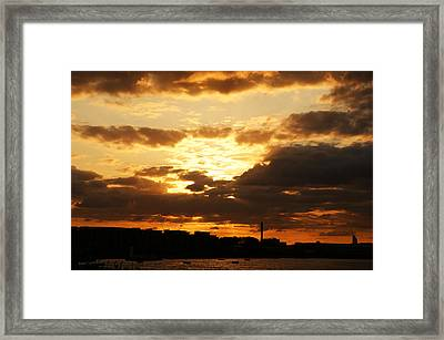 Sunset Over The Thames From Greenwich Framed Print