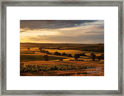 Sunset Over The Umbrian Countryside At Paciano Framed Print
