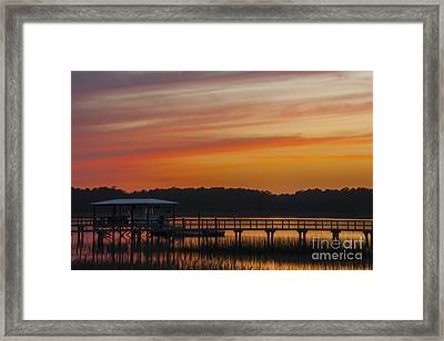 Sunset Over The Wando River Framed Print by Dale Powell