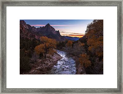Sunset Over The Watchman Framed Print by Andrew Soundarajan