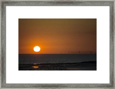 Sunset Over The Windfarm Framed Print