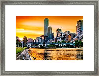 Sunset Over The Yarra Framed Print by Az Jackson