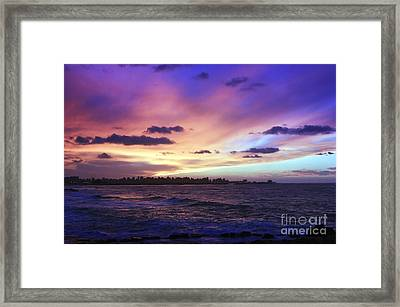 Framed Print featuring the photograph Sunset Over Town And Sea Water by Mohamed Elkhamisy