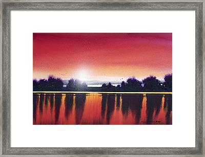 Sunset Over Two Lakes Framed Print