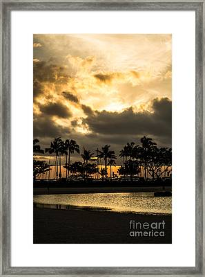 Framed Print featuring the photograph Sunset Over Waikiki by Angela DeFrias