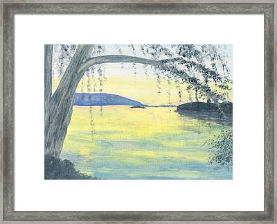 Sunset Over Water Framed Print by Stephanie Grant