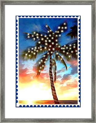 Sunset Palm Tree With Xmas Lights Stamp Framed Print