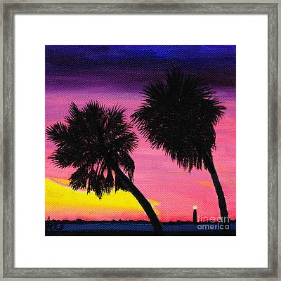 Sunset Palms At Fort Desoto Framed Print by Jane Axman