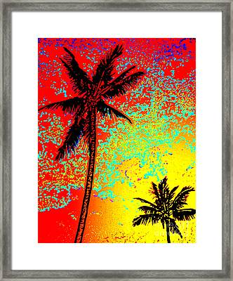 Framed Print featuring the photograph Sunset Palms by David Lawson