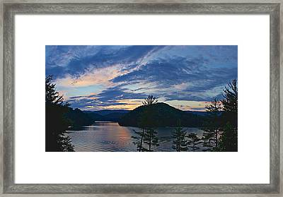 Sunset Pano - Watauga Lake Framed Print
