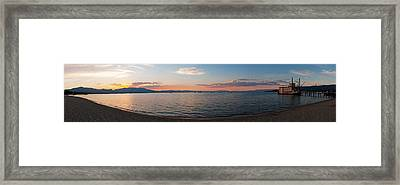 Framed Print featuring the photograph Sunset Panorama At Lake Tahoe California by Paul Topp
