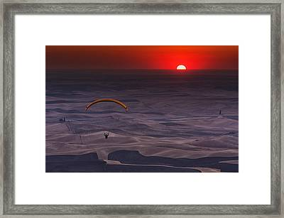 Sunset Paragliding Framed Print by Mark Kiver