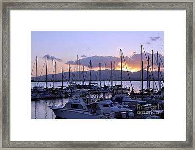 Framed Print featuring the photograph Sunset Pearl Harbor by Gina Savage
