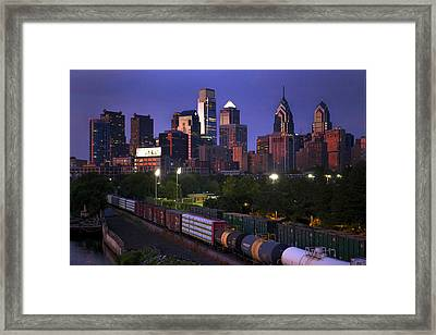 Philly Sunset  Framed Print by Kenny  Noddin